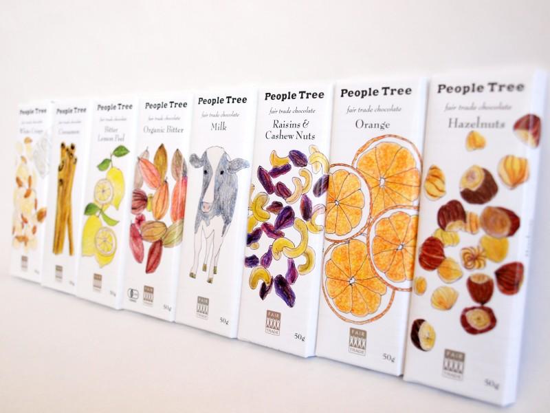 手書きイラストがかわいいチョコバーpeople Treeピープルツリーの